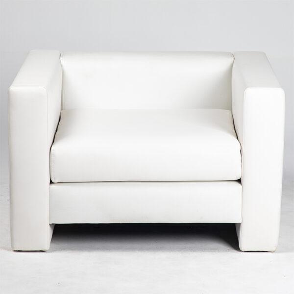 fauteuil simili cuir blanc face location