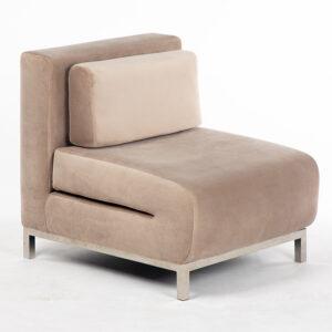 fauteuil solo inox velours beige location