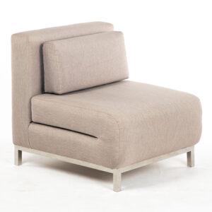 fauteuil solo inox tissu beige location