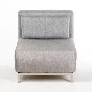 fauteuil solo inox tissu beige face location.