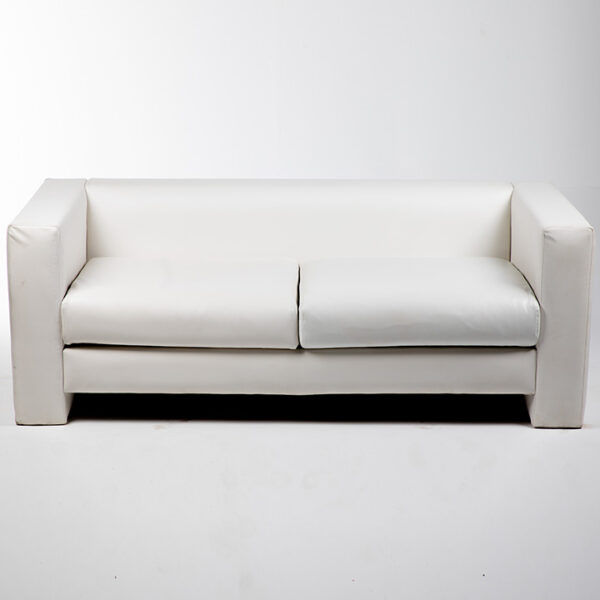 FT202BC Fauteuil 2 places simili cuir blanc location face