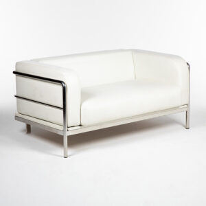 fauteuil 2 places cuir blanc location