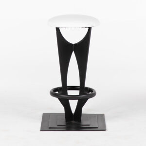 TB006BC tabouret rond assise cuir blanc