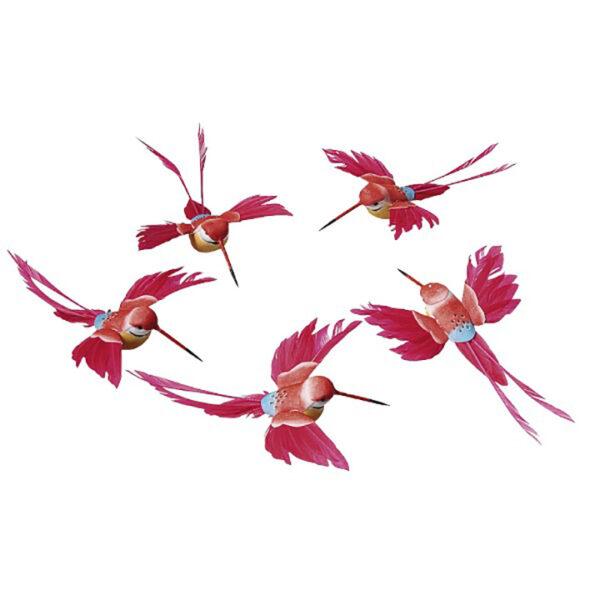 de015 colibris deco rouges 5 pieces location