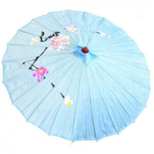 de146 ombrelle chinoise en tissu decoree bleu location