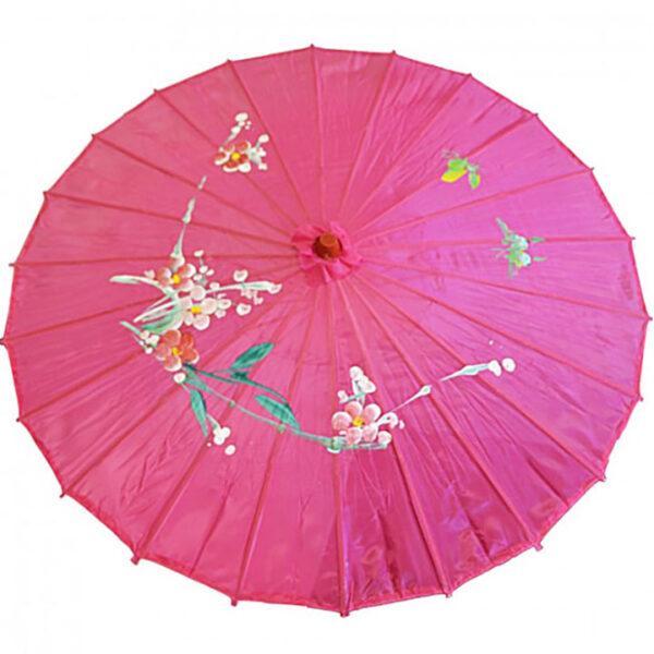 de147 ombrelle chinoise en tissu decoree fushia location