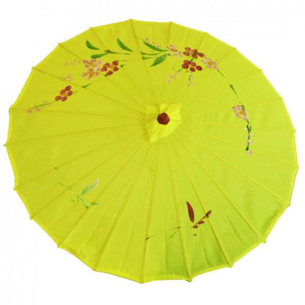 de148 ombrelle chinoise tissu jaune location