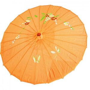 de149 ombrelle chinoise en tissu decoree orange