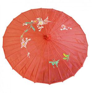 de150 ombrelle chinoise en tissu decoree rouge location