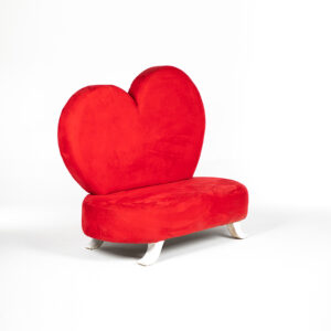ft203RG fauteuil 2 places tissu rouge coeur location